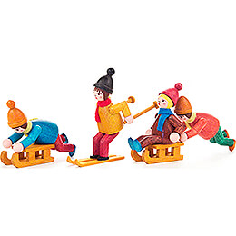 Wintersportler farbig lasiert - 4 Stück  - 6 cm