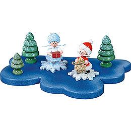 Wolke für Schneeflöckchen 1 Etage klein - 18x11 cm