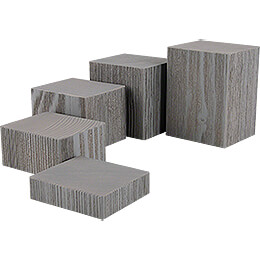 Wooden Block Set - 5 pieces - Grey - 12 cm / 4.7 inch