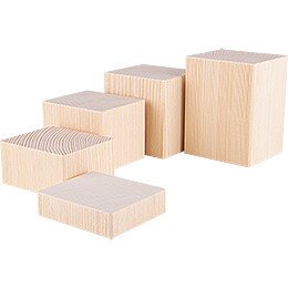 Wooden Block Set - 5 pieces - Natural - 12 cm / 4.7 inch