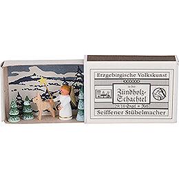 Zündholzschachtel Engel mit Reh - 3,8 cm