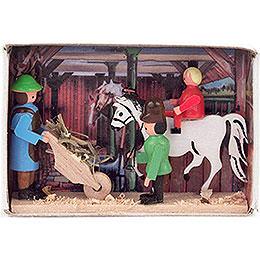 Zündholzschachtel Pferdestall - 4 cm