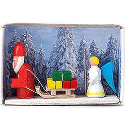 Zündholzschachtel Weihnachtsmann mit Christkind - 4 cm