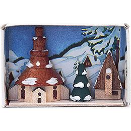 Zündholzschachtel Kirche Winter - 4 cm