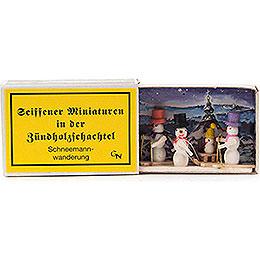 Zündholzschachtel Schneemannwanderung - 4 cm