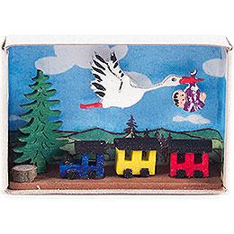 Zündholzschachtel mit Storch, Baby und Eisenbahn - 4 cm